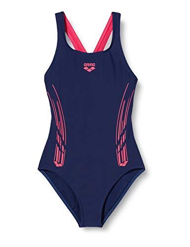 ARENA Mädchen Sport Badeanzug Stamp, Navy-Freak Rose, 140