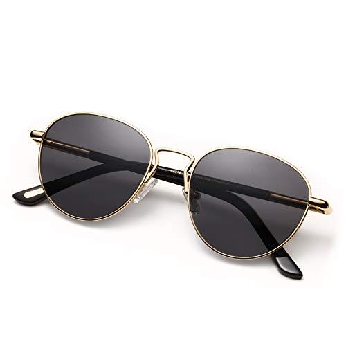 AVAWAY Polarizadas Gafas de sol Redondas para Mujer Vintage Protección UV400 Gafas de exterior, Acetato