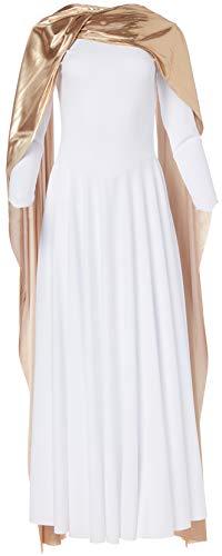 Clementine Praise & Liturgical Damen CLP-EU-14124-L-White/Gold Kleid für besondere Anlässe, Weiß/Gold, Groß