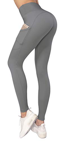 Sweetaluna Workout Leggings for Women with Pockets,High Waist Ankle Yoga Pants Running Tights Tummy Control (902-gray, Medium)