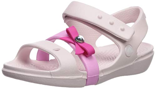 CROC Girls' Keeley Charm Sandal Mary Jane Flat, Barely Pink, 4 M US Toddler