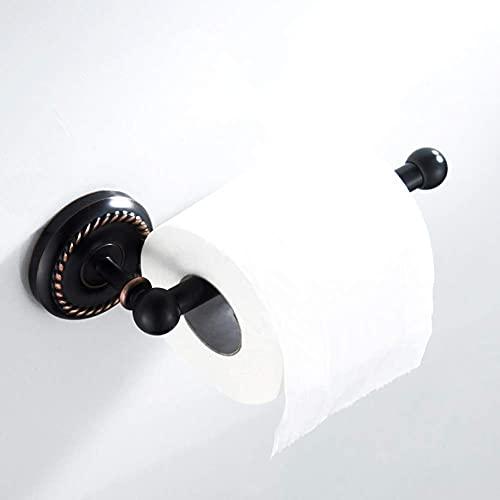 ZYQHJKLHK Portarrollos de Papel higiénico Vintage, latón, Acabado Pulido para Dormitorio, baño, Sala de Estar, Cocina (Requiere perforación), Negro