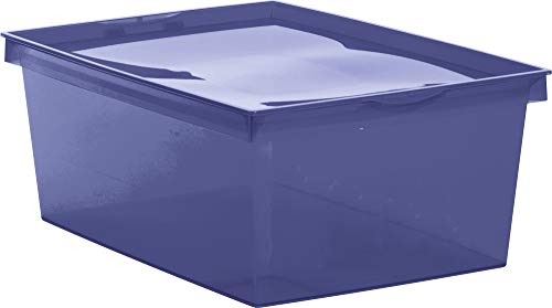 EDA Boîte de Rangement Plastique Crystaline 18 l - Bleu Profond