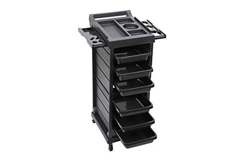 Funnylife Salon Trolley Stylist Cart with 6 Drawers 4 Rolling Wheels, Beauty Storage Organizer, Barber Station Hair Styling Cabinet for Hairdresser Barber