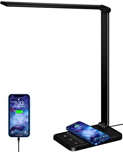 Bordlampe LED Dimmbar skrivebordslampe 5 farger og 6 lysstyrkenivåer Øyevennlig nattlampe 10W QI Trådløs lading og USB-tilkobling Smarttelefoner Sengelampe Trådløs lader Bordlampe