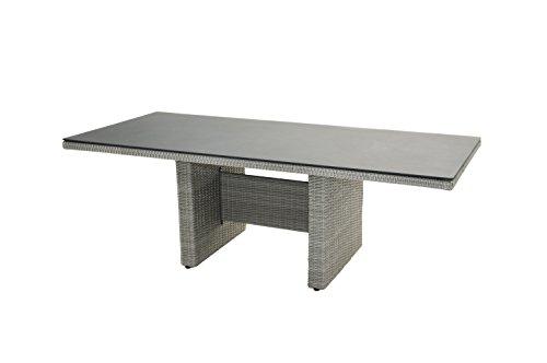 Ploß Diningtisch Catania für 8 bis 10 Personen - Polyrattan-Tisch mit Glastischplatte - Rattan-Gartentisch doppel-halbrund 220 x 100 cm edel in Grau - Terrassentisch mit Alu-Gestell