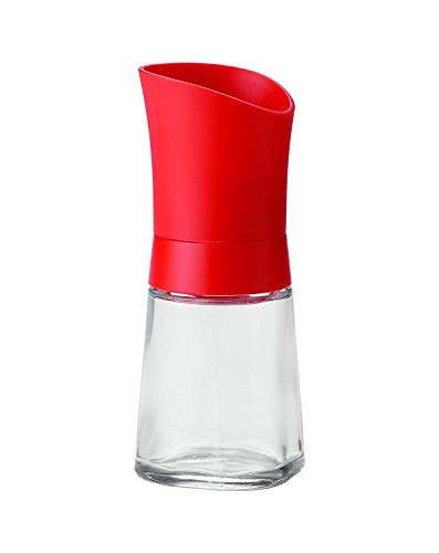"""Linden Sweden 012184 Lily Adjustable Ceramic Spice Grinder – Ideal for Sea Salt, Peppercorns, Dried Spices, Herbs, and More, Dishwasher Safe, Glass Body, BPA-Free, 5"""", Red"""