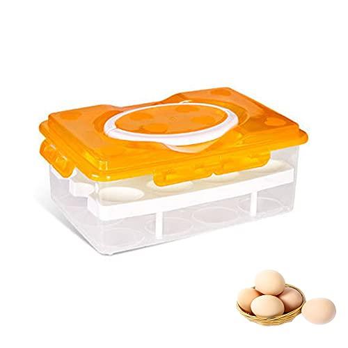 Contenitore Uova In Plastica,Portauova Frigorifero,Portauova con Coperchio,Pratico Contenitore Uova,per Conservazione e La Protezione Delle Uova Nella Cucina Casa (Arancione)