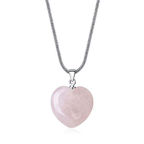COAI® Collar de Colgante de Cristal Natural Cuarzo Rosa Corazón de Amor de Dama de Honor para Mujer
