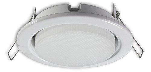Dimmbarer LED Einbaustrahler GX53 230 V weiss - Einbauleuchte Spot Strahler inkl. 7 W GX53 LED Leuchtmittel warmweiss - Deckeneinbaustrahler Deckeneinbauspot Einbauspot