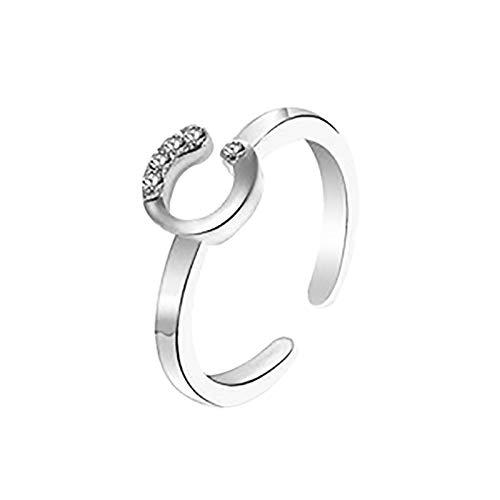 Janly Clearance Sale Anillos para mujer, 26 letras inglesas, diseño de letras en inglés, regalo para parejas, conjuntos de joyas, día de San Valentín (C)