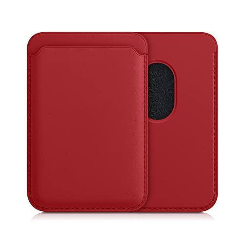 kwmobile Tarjetero Compatible con Apple iPhone 12/12 Pro / 12 Mini / 12 Pro MAX - Portatarjetas magnético de Cuero sintético - Rojo