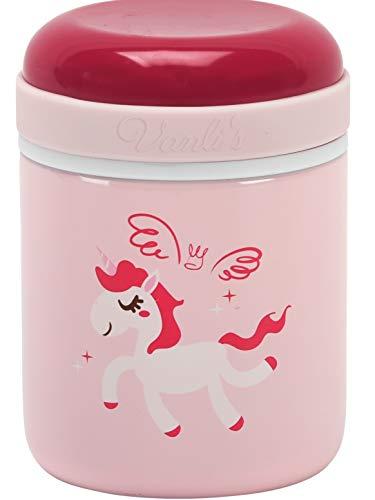 Vanli's Boîte à Repas Isotherme Enfant 300 ml, Pot Acier Inoxydable | Lunch box antifuite | Garde les plats chauds pendant 12h et froids 24h | Isolation par vide d'air sans BPA | Licorne rose