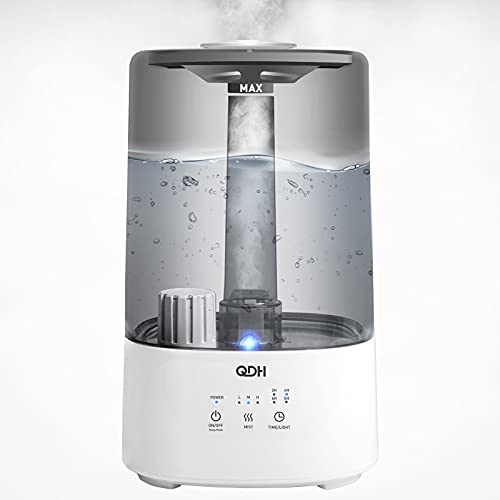 QDH 3.5L Cool Mist Humidifier Large Room, Top Filling Humidifiers for Bedroom, 26dB Quiet Ultrasonic Humidifier for Home, Air Humidifier for plants, Auto Shut Off Up to 36 Hours with Adjustable Output