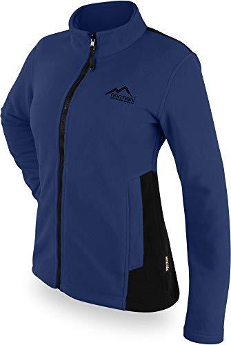 normani Damen Fleecejacke in zweifarbiger Optik mit Stehkragen und großen Taschen mit ZIP-T3k System Farbe Navy Größe M