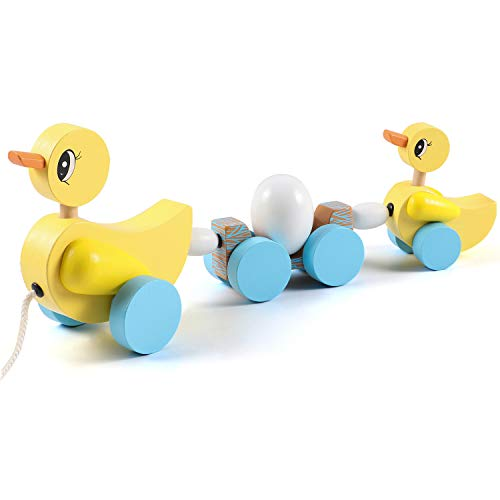 Lewo Pull Along Toy Duck with 1 ...
