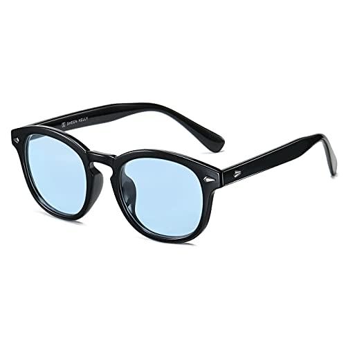 occhiali da sole uomo colorati TR90 Vintage UV400 Occhiali da sole colorati retrò moda donna Tony stark occhiali da sole rotondi Blu