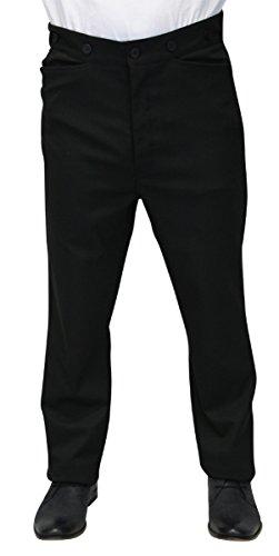Historical Emporium Men's High Waist Callahan Dress Trousers 30 Black