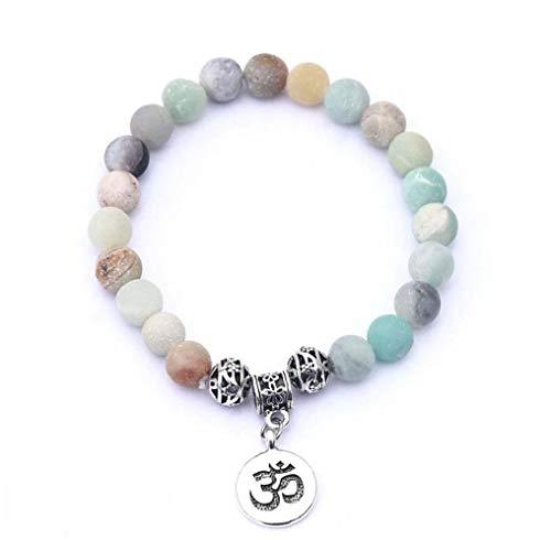 Hotaden Pulsera de Piedra Natural Strand Chakra de la Yoga Mujer Pulsera de Hombre Pulsera de Cuentas Encanto
