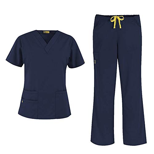 WonderWink Origins Women's 6016 Bravo V-Neck Top & Romeo Drawstring Pant 5026 Medical Uniforms Scrub Set (Navy - Medium/Medium Petite)