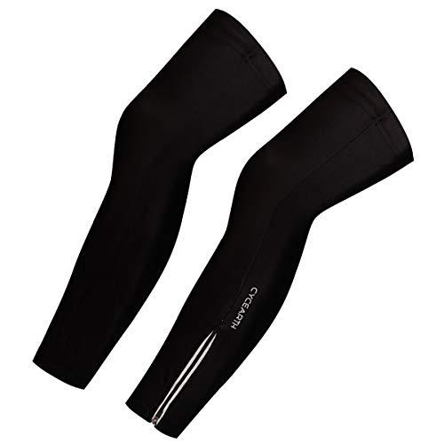 CYCEARTH Beinstulpen für Herren und Damen, für Mountainbike, Fahrrad-Leggings, Beinstulpen, Sport-Strumpfhosen, sonnenfest, schwarz, Medium