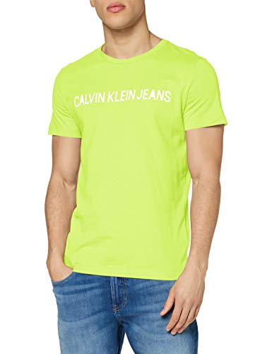 Calvin Klein Jeans Herren Institutional Logo Slim Ss Tee T shirt, Yellow, M