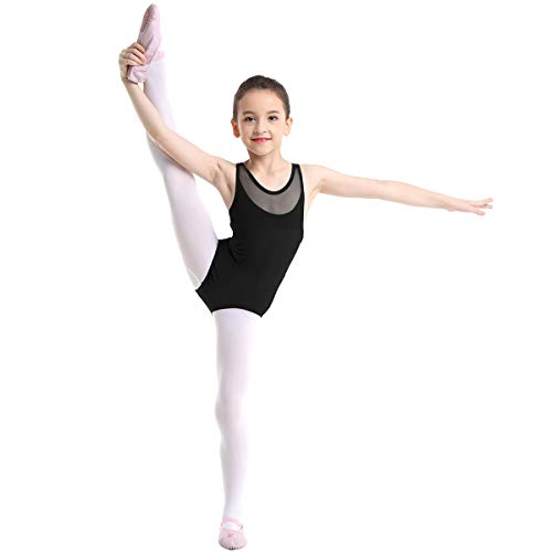 Yeahdor Maillot de Gimnasia Rítmica para Niña Maillot de Danza Ballet sin Manga Leotadro de Pritinaje Artistico Empalme de Malla Disfraz Bailarina Negro 6 Años