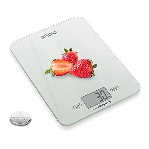 Afloia Bilancia digitale professionale elettronica da 11 lb/5 kg, bilancia da cucina digitale, peso grammi e Unce, graduazione precisa, vetro temperato impermeabile (batteria inclusa)