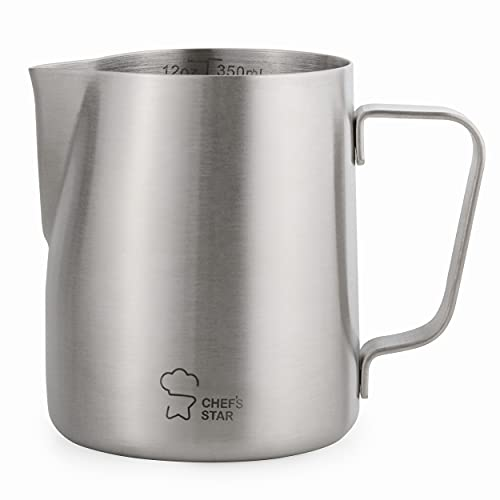 Chef's Star Stainless Steel Milk Frothing Pitcher, Frothing Cup for Milk Steamer and Frother for Coffee Cappuccino Latte and Espresso Machine, Espresso Machine Accessories Steaming Pitcher (20 oz)