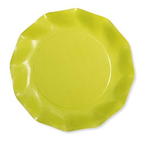 Chaks 43KTL, Paquet de 8 Assiettes Carton COMPOSTABLES 21 cm, Vert Lime