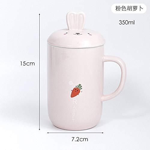 Keramische mok kop kop koffie kop wortel met deksel dier roze mode eenvoudig cadeau doos Europese retro creatieve fijne servies Cute