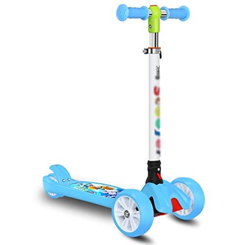 ZZL Patinetes para Niños Scooter para Niños Scooter 3-12 Años Plegable Y 4 Manillar Ajustable con Wheels Flash Boys Girls Gifts Scooter (Color : Blue)