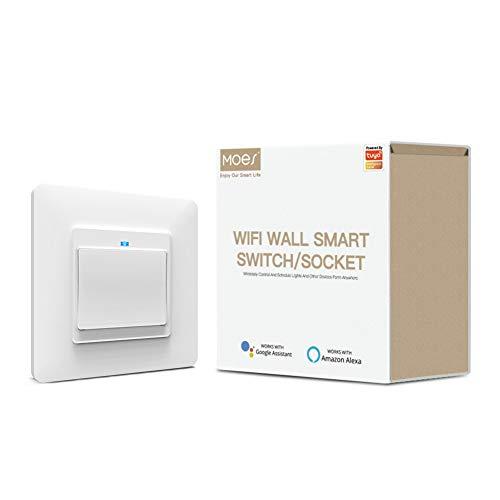 MOES Wlan Smart Alexa, interruttore della luce WiFi, interruttore a pulsante per luce compatibile con Smart Life Tuya, telecomando con app Smart Life Tuya, Alexa e Google Home, 1 marce