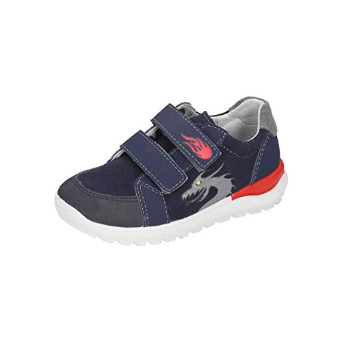 RICOSTA Jungen Sneaker Bobbi, Weite: Mittel (WMS),Blinklicht, led licht Text sportschuh mid Cut Sneaker Klettverschluss Kinder,Nautic,25 EU / 7.5 Child UK