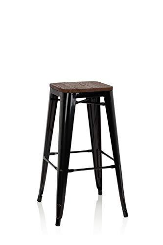 hjh OFFICE 645043 Vantaggio - Taburete alto (metal y madera, apilable), color negro