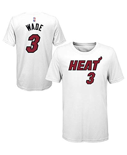Outerstuff Dwyane Wade Miami Heat #3 Youth Icon Player Name & Number T-Shirt White (Youth Small 8)
