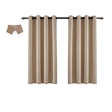 Yakamok Thermal Insulated Grommet Noise Reducing Blackout Curtains for Bedroom/Living Room (52Wx63L, Royal Beige,2 Panel)