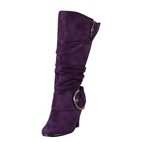 Damen Stiefel High Heels Klassische Stiefel mit Blockabsatz Profilsohle Elegant Winterstiefel mit Schnalle Lila 41 EU