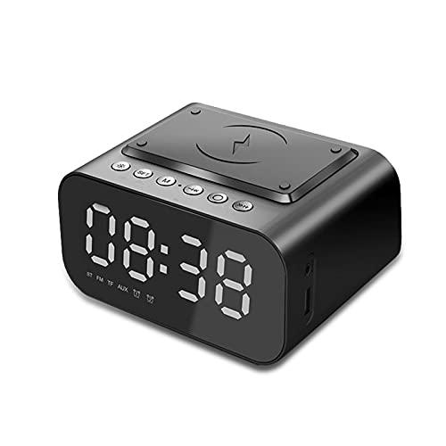 Reloj de alarma con cargador inalámbrico con altavoz Bluetooth y DIRIGIÓ Digital, FM Radio, Modo Auto Dimmer, Función de Snooze Fácil, Tono de llamada de Música, Para Oficina de Dormitorio Inicio