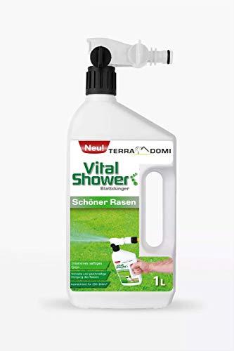 Terra Domi Vital Shower Schöner Rasen, 1 L, Rasendünger für bis zu 300 m², Flüssigdünger für sattes & gleichmäßiges Grün, Dünger, Blattdünger
