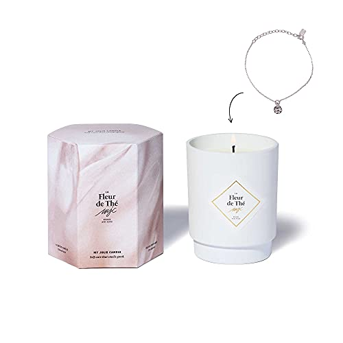 MY JOLIE CANDLE   Vela con aroma a flor de té con joya en su interior   Pulsera Plateada   50h de combustión   Cera vegetal 100% natural   250g