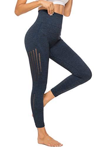 SEASUM Leggings de Sport Femme Pantalon Longue sans Coutures avec Maille Taille Haute Opaque Collant Tights Jogger Course Fitness, D-Bleu L