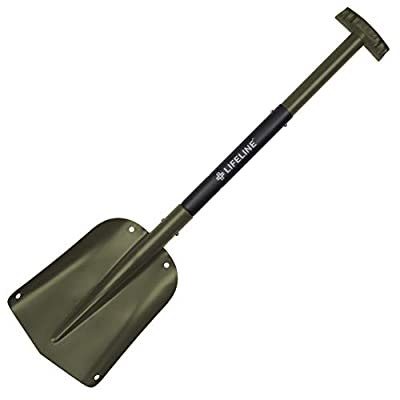 Aluminum Sport Utility Shovel, 3 Piece Collapsible Design, Perfect Snow Shovel for Car, Camping and Other Outdoor Activities, Olive
