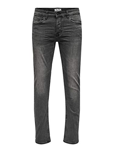 ONLY & SONS Herren Slim Fit Jeans ONSFarbgewaschene 3132Black Denim