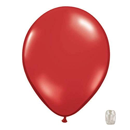 10 Pack 11 Inch Transparent Jewel Tone Latex Color Balloons with Matching Ribbons (Ruby Red)