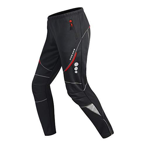 WOSAWE Herren Thermo-Fleece-Fahrradhose, winddicht, Laufhose, Jogger Sweatpants reflektierend - Schwarz - XXX-Large
