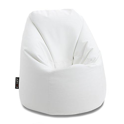 EXTROITALY *Bonita L* Bianco Pouf Sacco Morbido Ecopelle Mis. 85X85 H.100 cm Doppia Lampo sul Fondo Doppia Cucitura RIBATTUTA per Maggiore Tenuta