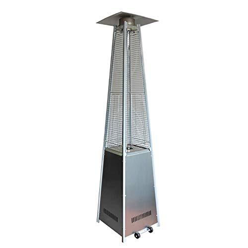 SEESEE.U Calefacción de Patio piramidal con Ruedas, Temperatura Ajustable, calefacción Exterior de Gas, calefacción Visual de Llama para Jardines