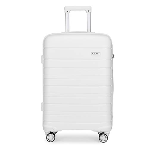 Kono Lightweight Polypropylene Medium Check in Luggage with 4 Spinner Wheels TSA Lock YKK Zipper Hard Shell Travel Trolley Suitcase (White, 65cm 66L)