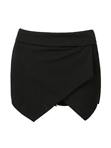 CHARLES RICHARDS Women's Asymetric Hem Tulip Plain Mid Waist Skorts Mini Skirt Shorts Black